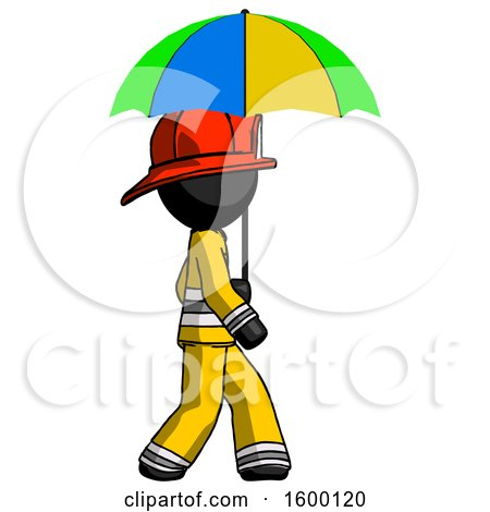 Black Firefighter Fireman Man Walking with Colored Umbrella by Leo Blanchette