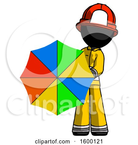Black Firefighter Fireman Man Holding Rainbow Umbrella out to Viewer by Leo Blanchette