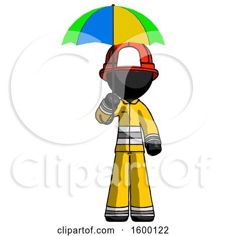 Black Firefighter Fireman Man Holding Umbrella Rainbow Colored by Leo Blanchette