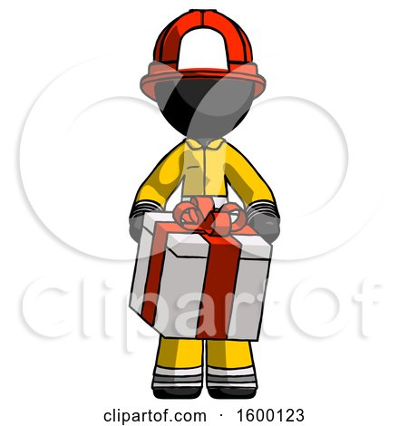 Black Firefighter Fireman Man Gifting Present with Large Bow Front View by Leo Blanchette