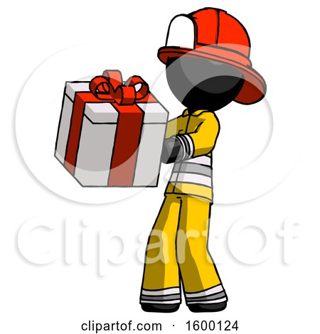 Black Firefighter Fireman Man Presenting a Present with Large Red Bow on It by Leo Blanchette