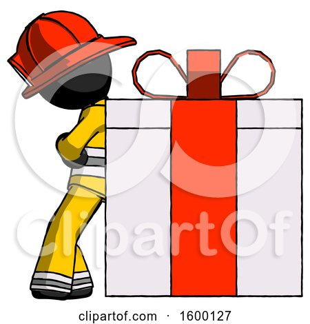 Black Firefighter Fireman Man Gift Concept - Leaning Against Large Present by Leo Blanchette