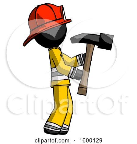 Black Firefighter Fireman Man Hammering Something on the Right by Leo Blanchette