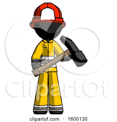 Black Firefighter Fireman Man Holding Hammer Ready to Work by Leo Blanchette