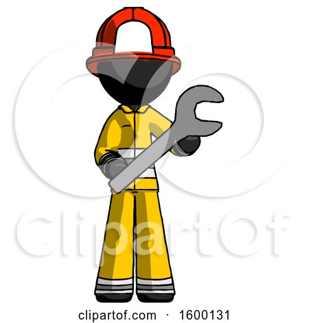 Black Firefighter Fireman Man Holding Large Wrench with Both Hands by Leo Blanchette