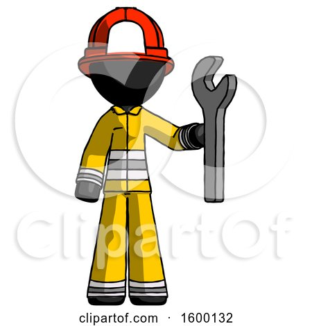 Black Firefighter Fireman Man Holding Wrench Ready to Repair or Work by Leo Blanchette