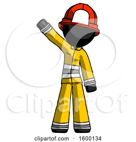 Black Firefighter Fireman Man Waving Emphatically with Right Arm by Leo Blanchette