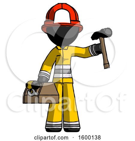 Black Firefighter Fireman Man Holding Tools and Toolchest Ready to Work by Leo Blanchette