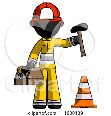 Black Firefighter Fireman Man Under Construction Concept, Traffic Cone and Tools by Leo Blanchette