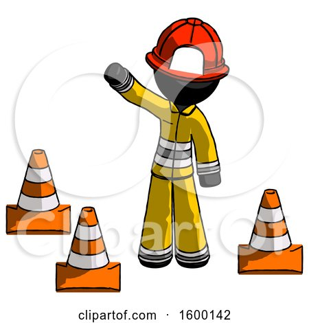 Black Firefighter Fireman Man Standing by Traffic Cones Waving by Leo Blanchette