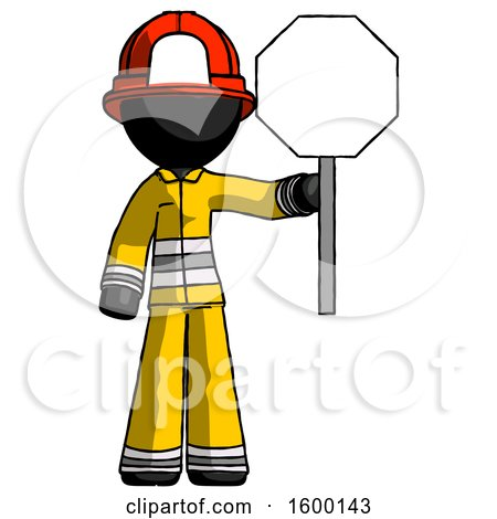 Black Firefighter Fireman Man Holding Stop Sign by Leo Blanchette