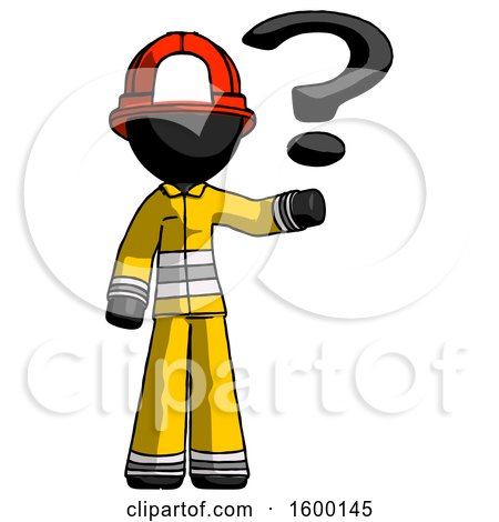 Black Firefighter Fireman Man Holding Question Mark to Right by Leo Blanchette
