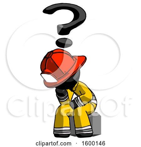 Black Firefighter Fireman Man Thinker Question Mark Concept by Leo Blanchette