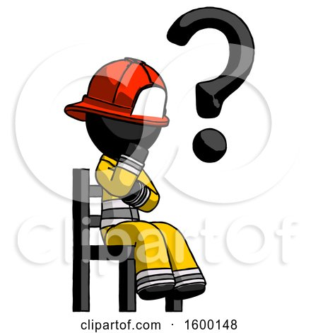 Black Firefighter Fireman Man Question Mark Concept, Sitting on Chair Thinking by Leo Blanchette