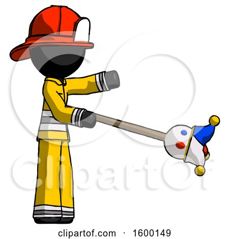 Black Firefighter Fireman Man Holding Jesterstaff - I Dub Thee Foolish Concept by Leo Blanchette