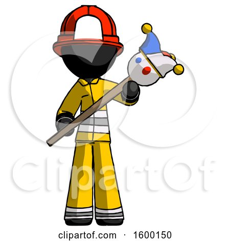 Black Firefighter Fireman Man Holding Jester Diagonally by Leo Blanchette