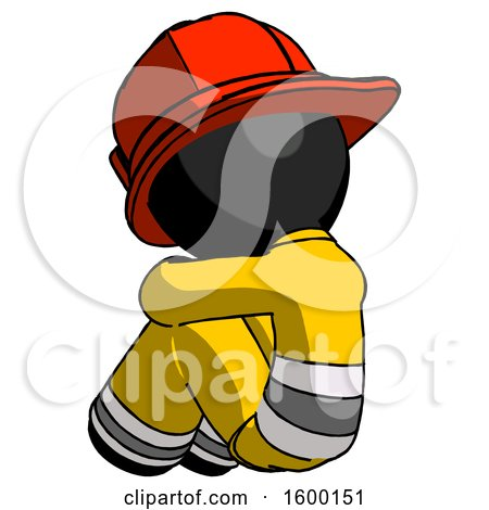 Black Firefighter Fireman Man Sitting with Head down Back View Facing Left by Leo Blanchette