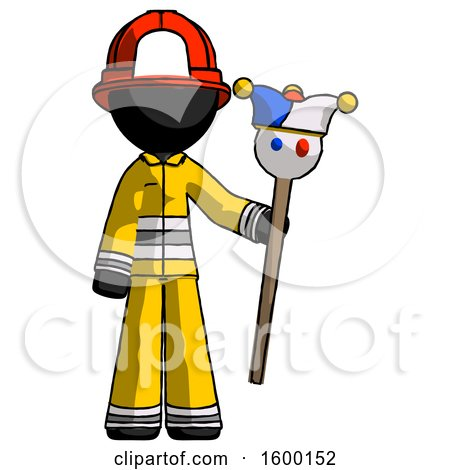 Black Firefighter Fireman Man Holding Jester Staff by Leo Blanchette