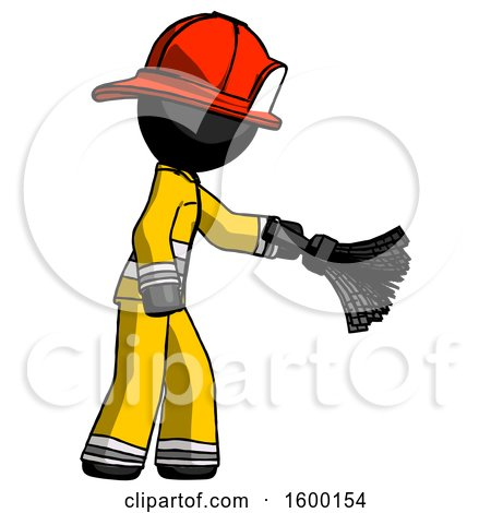 Black Firefighter Fireman Man Dusting with Feather Duster Downwards by Leo Blanchette