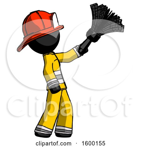 Black Firefighter Fireman Man Dusting with Feather Duster Upwards by Leo Blanchette