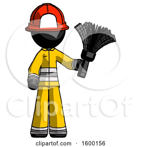 Black Firefighter Fireman Man Holding Feather Duster Facing Forward by Leo Blanchette