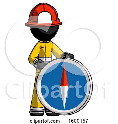 Black Firefighter Fireman Man Standing Beside Large Compass by Leo Blanchette