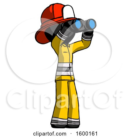 Black Firefighter Fireman Man Looking Through Binoculars to the Right by Leo Blanchette