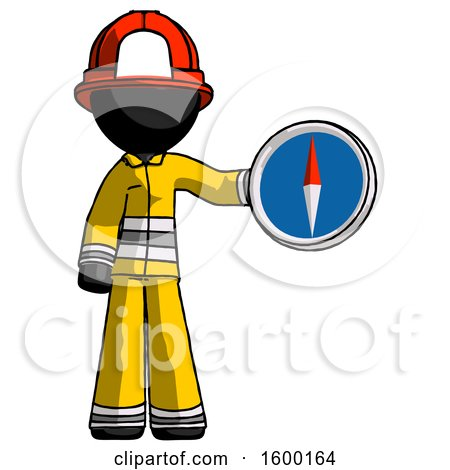 Black Firefighter Fireman Man Holding a Large Compass by Leo Blanchette