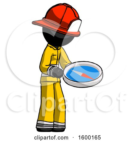 Black Firefighter Fireman Man Looking at Large Compass Facing Right by Leo Blanchette