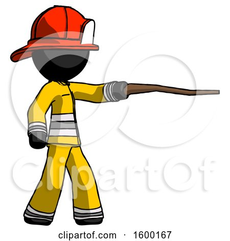 Black Firefighter Fireman Man Pointing with Hiking Stick by Leo Blanchette