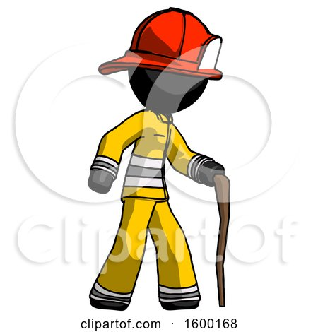 Black Firefighter Fireman Man Walking with Hiking Stick by Leo Blanchette
