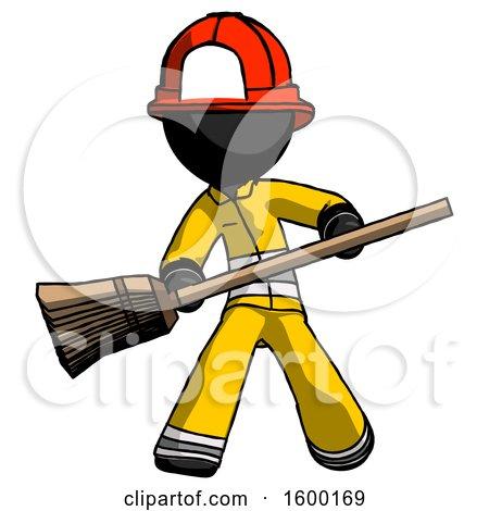 Black Firefighter Fireman Man Broom Fighter Defense Pose by Leo Blanchette