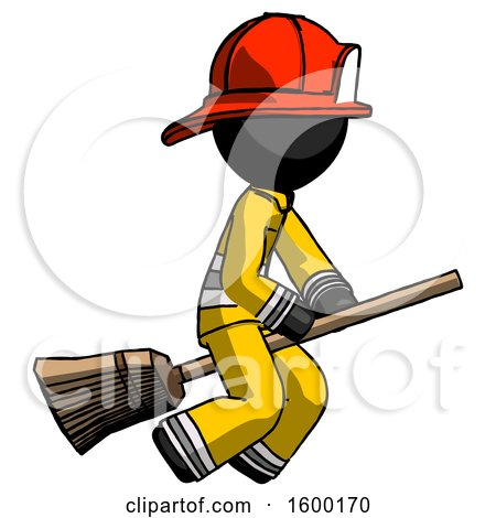 Black Firefighter Fireman Man Flying on Broom by Leo Blanchette