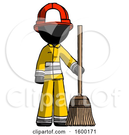 Black Firefighter Fireman Man Standing with Broom Cleaning Services by Leo Blanchette
