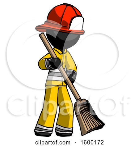 Black Firefighter Fireman Man Sweeping Area with Broom by Leo Blanchette