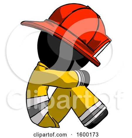 Black Firefighter Fireman Man Sitting with Head down Facing Sideways Right by Leo Blanchette