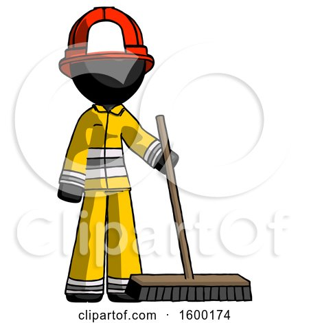 Black Firefighter Fireman Man Standing with Industrial Broom by Leo Blanchette