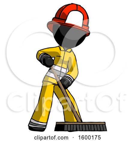 Black Firefighter Fireman Man Cleaning Services Janitor Sweeping Floor with Push Broom by Leo Blanchette