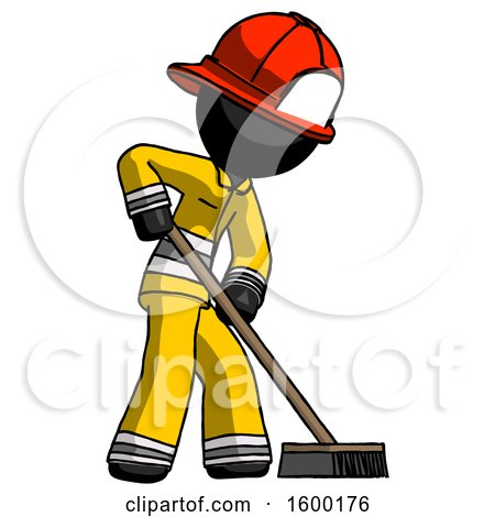 Black Firefighter Fireman Man Cleaning Services Janitor Sweeping Side View by Leo Blanchette
