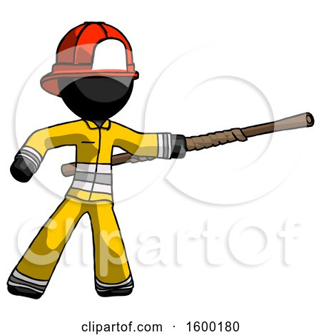 Black Firefighter Fireman Man Bo Staff Pointing Right Kung Fu Pose by Leo Blanchette