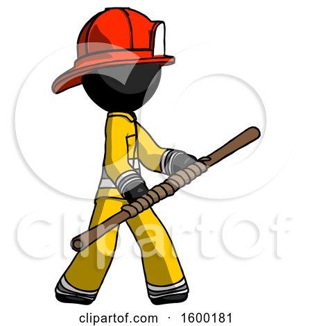 Black Firefighter Fireman Man Holding Bo Staff in Sideways Defense Pose by Leo Blanchette