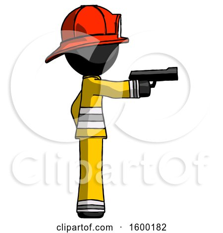 Black Firefighter Fireman Man Firing a Handgun by Leo Blanchette