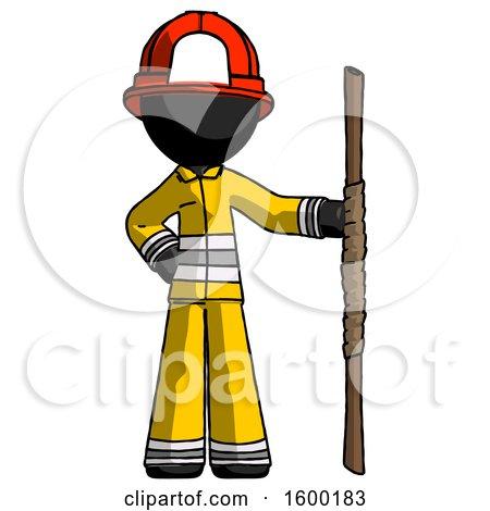 Black Firefighter Fireman Man Holding Staff or Bo Staff by Leo Blanchette