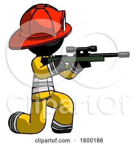 Black Firefighter Fireman Man Kneeling Shooting Sniper Rifle by Leo Blanchette