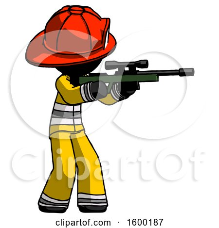 Black Firefighter Fireman Man Shooting Sniper Rifle by Leo Blanchette