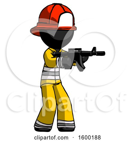 Black Firefighter Fireman Man Shooting Automatic Assault Weapon by Leo Blanchette