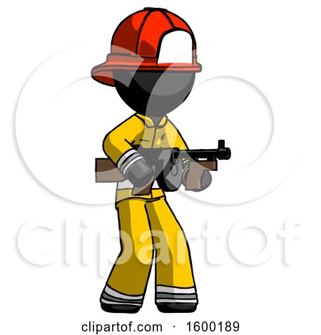 Black Firefighter Fireman Man Tommy Gun Gangster Shooting Pose by Leo Blanchette