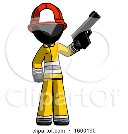 Black Firefighter Fireman Man Holding Handgun by Leo Blanchette