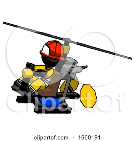 Black Firefighter Fireman Man Flying in Gyrocopter Front Side Angle Top View by Leo Blanchette