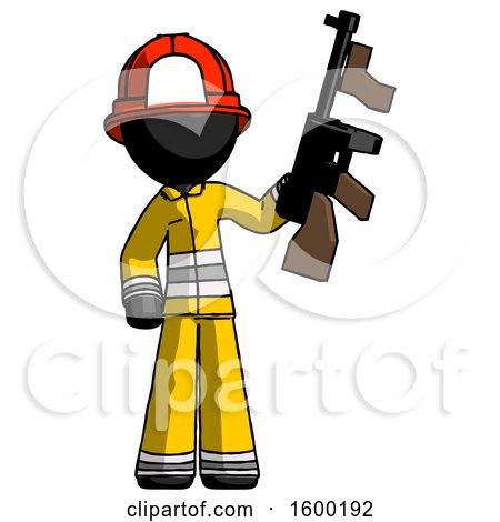 Black Firefighter Fireman Man Holding Tommygun by Leo Blanchette